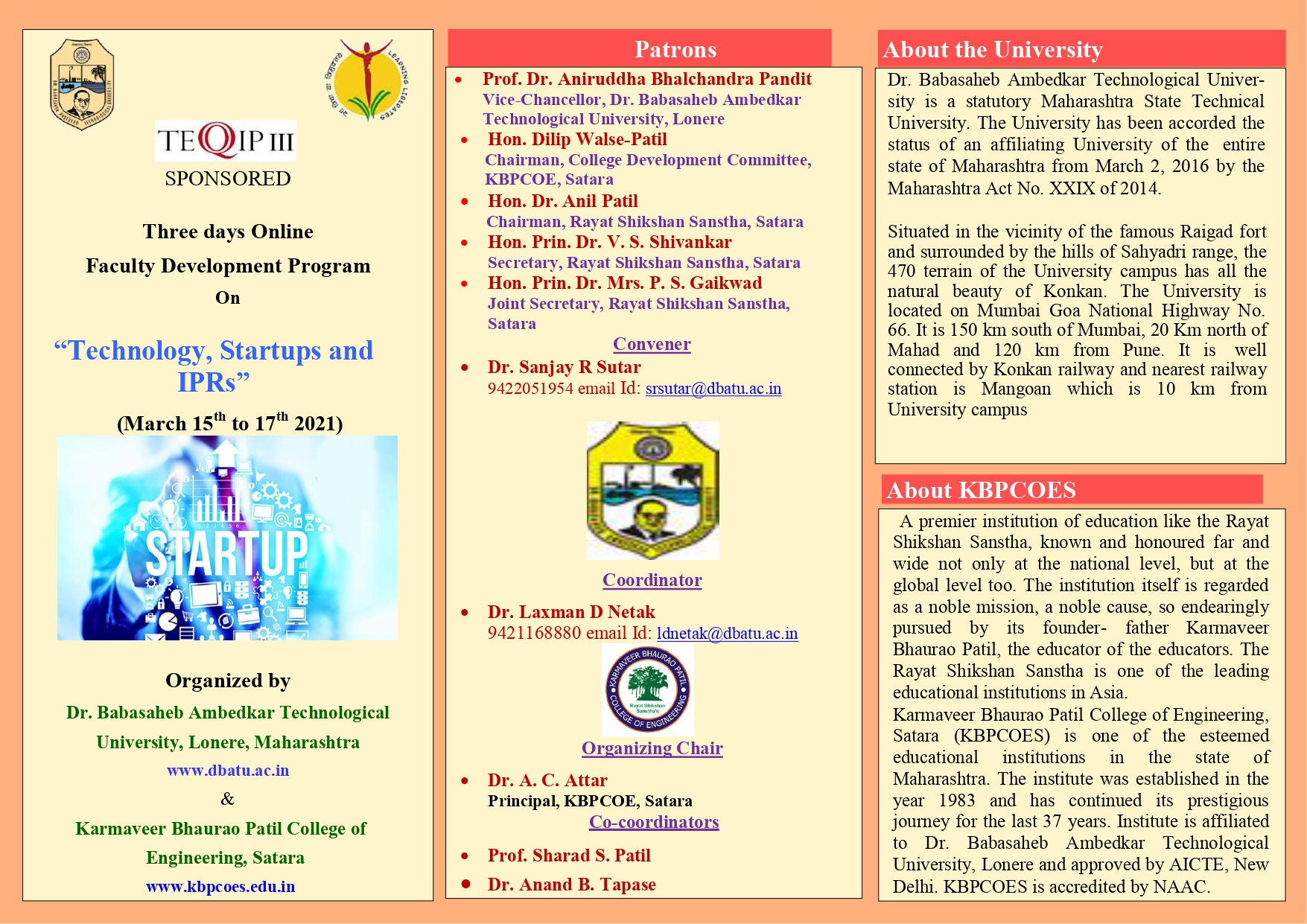 """Three days Online Faculty Development Program On """"Technology, Startups and  IPRs"""""""